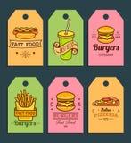 Étiquettes d'aliments de préparation rapide de vecteur Hamburgers, hot-dogs, pomme de terre de friture, pizza etc. illustrations  illustration libre de droits