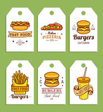Étiquettes d'aliments de préparation rapide de vecteur Hamburgers, hot-dogs, pomme de terre de friture, pizza etc. illustrations  illustration stock