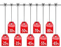 Étiquettes d'escompte de Noël Photographie stock libre de droits
