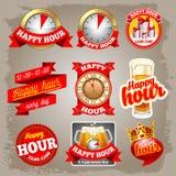 Étiquettes d'heure heureuse Images stock
