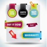 Étiquettes d'offre spéciale et de garantie Photo stock