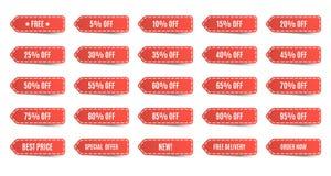 Étiquettes de achat d'isolement réglées Étiquettes rouges d'escompte Images stock
