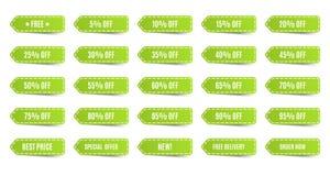 Étiquettes de achat d'isolement réglées Labels verts de remise Photographie stock