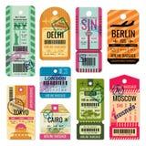 Étiquettes de bagages de vintage et ensemble de vecteur de labels de bagage illustration stock