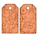 Étiquettes de Brown avec des fleurs Photo libre de droits