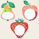 Étiquettes de cadeau de fruit Photographie stock libre de droits