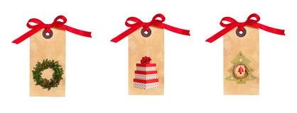 Étiquettes de cadeau de Noël Photos stock