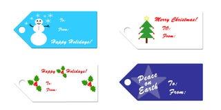 Étiquettes de cadeau de Noël Photographie stock