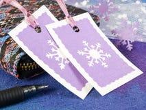 Étiquettes de cadeau de Noël Photos libres de droits