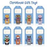 Étiquettes de cadeau de Noël et de nouvelle année avec des animaux tenant des présents illustration libre de droits