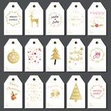 Étiquettes de cadeau de Noël réglées Photographie stock