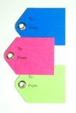 Étiquettes de cadeau de papier coloré Photo libre de droits
