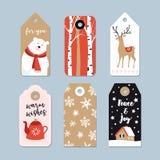 Étiquettes de cadeau de Noël de vintage réglées Labels tirés par la main avec des arbres de bouleau, des cerfs communs, l'ours bl Images stock