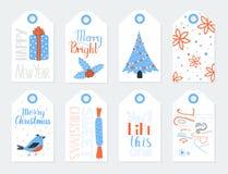 Étiquettes de cadeau pour l'ensemble de vecteur de nouvelle année Image stock