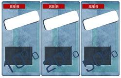 Étiquettes de jeans de vente, prix et pour cent d'escompte Photo libre de droits