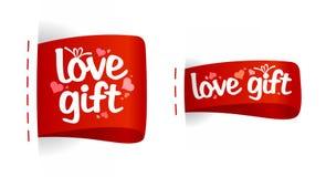 Étiquettes de jour de Valentine de cadeaux d'amour. Images libres de droits