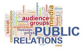 Étiquettes de mot de relations publiques Photo stock