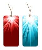 Étiquettes de Noël avec des flocons de neige Photos libres de droits