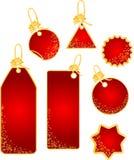 Étiquettes de Noël avec la conception de flocons de neige Photo libre de droits