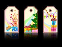 Étiquettes de Noël de dessin animé illustration libre de droits