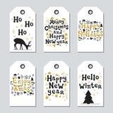 Étiquettes de Noël et de cadeau de nouvelle année Ensemble d'or de Noël de cartes Élément tiré par la main Collection de label de Photographie stock libre de droits
