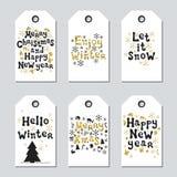 Étiquettes de Noël et de cadeau de nouvelle année Ensemble d'or de Noël de cartes Élément tiré par la main Collection de label de Image stock