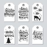 Étiquettes de Noël et de cadeau de nouvelle année Ensemble de Noël de cartes Éléments tirés par la main Collection de label de pa Images stock
