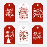 Étiquettes de Noël et de cadeau de nouvelle année Ensemble de Noël de cartes Éléments tirés par la main Collection de label de pa Photo libre de droits