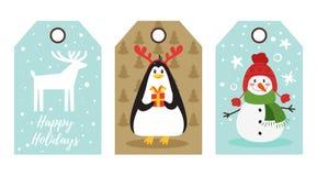 Étiquettes de Noël et de nouvelle année illustration stock