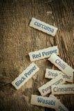 Étiquettes de nom pour des épices image libre de droits
