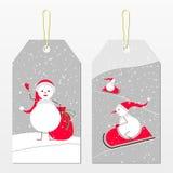 Étiquettes de nouvelle année avec des bonhommes de neige illustration de vecteur