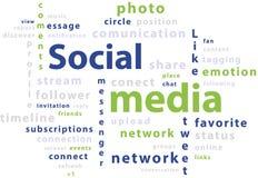 Étiquettes de nuage de mot de typographie des medias sociaux Photos stock