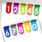 Étiquettes de papier numérotées colorées Photographie stock libre de droits
