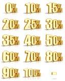 Étiquettes de pour cent d'or Images stock