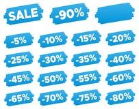 Étiquettes de prix discount - ensemble de label bleu de remise Photos stock