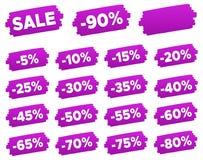 Étiquettes de prix discount - ensemble de label pourpre de remise Image stock