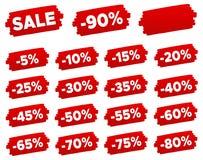 Étiquettes de prix discount - ensemble de label de remise Illustration Libre de Droits