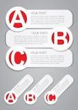 Étiquettes de progrès d'ABC dans le blanc Photographie stock libre de droits