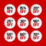 Étiquettes de vente de 10 à 70 pour cent Promotion de produit Vecteur Illustration Stock