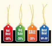 Étiquettes de vente avec des chaînes de caractères d'or Images stock