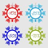 Étiquettes de vente de flocons de neige Photographie stock libre de droits