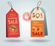 Étiquettes de vente de Noël Photos libres de droits