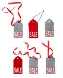 Étiquettes de vente Ensemble d'étiquettes de cadeau de couleur d'isolement sur le fond blanc Photo libre de droits