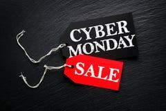 Étiquettes de vente de lundi de Cyber Photo libre de droits