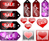 Étiquettes de vente, Valentines de rue Photo stock