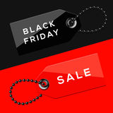 Étiquettes de ventes de Black Friday Photographie stock