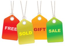 Étiquettes de ventes de carton Images libres de droits