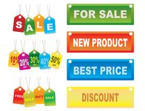 Étiquettes de ventes de carton Photo libre de droits