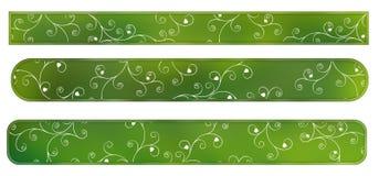Étiquettes de vert avec des fleurs Images stock