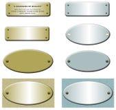 Étiquettes en métal avec les rivets, l'or et le bleu Image libre de droits